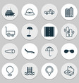 tourism icons set with summer hat motor ship vector image vector image