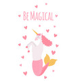 unicorn capricorn magical creature cute hand vector image