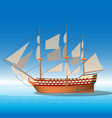 wooden ship in sea vector image vector image