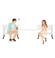 young couple use social distancing to communicate vector image
