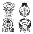 Set logos motorcycle labels badges and design el vector image