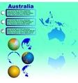 Australia map on blue background vector image