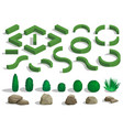 set of bushes and trees vector image