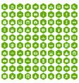 100 building icons hexagon green vector image vector image