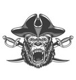 angry gorilla head in pirate hat vector image