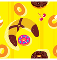 Bagels Bright Seamless Pattern vector image vector image