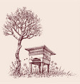beehive under a tree in bloom vector image