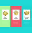 best quality choice premium brand golden label set vector image vector image