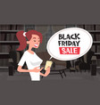 black friday sale chat bubble message from girl vector image