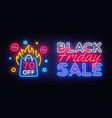 Black friday sale neon banner black friday