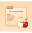 Bright recipe card with cute cartoon apple vector image