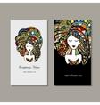 Business cards design zenart female portrait vector image vector image