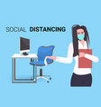 businesswoman in mask pointing at workplace desk vector image vector image