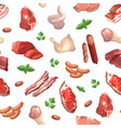 cartoon meat elements pattern or background vector image