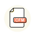 cfm file format extension color line icon vector image vector image