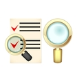 Choice under magnifying glass vector image vector image