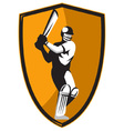cricket player batsman batting vector image vector image