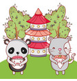 cute animals with sushi kawaii vector image vector image
