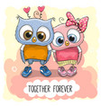 cute cartoon owls boy and girl vector image vector image