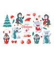 cute penguins mouses and items icon set isolated vector image vector image