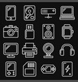devices and gadgets icons set on black background vector image vector image