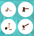 flat icon hammer set of justice court government vector image vector image