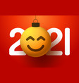 greeting card for 2021 new year with smiling vector image vector image