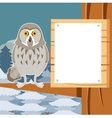 grey owl on winter tree flat background vector image
