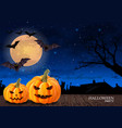 halloween card background with full moon and vector image