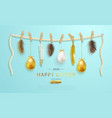 happy easter greeting web bannereaster eggs and vector image