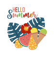 Hello summer background with tropical leaves and