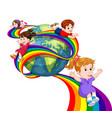 kids sliding on rainbow in sky vector image vector image