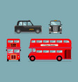 london city bus and cab set vector image