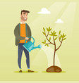 man watering tree vector image vector image