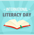 open book literacy day background flat style vector image