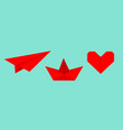origami paper plane boat ship heart icon set red vector image vector image