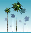 Painted tall coconut palm trees on blue sky vector image