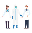 Person with biohazard suit protection and doctors