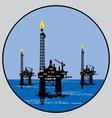 petroleum platform emblem vector image vector image