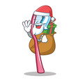 santa with gift toothbrush mascot cartoon style vector image vector image