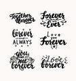 set hand written lettering for valentines day vector image