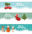 set horizontal christmas banners vector image
