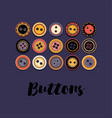 set of buttons on dark blue vector image vector image