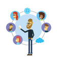 set people with smarphone social connection vector image vector image