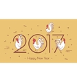 Set roosters on a beige background with geometric vector image vector image