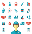 set trendy flat medical icons isolated on white vector image