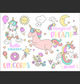 set unicorns and other fairy tales stickers vector image vector image