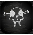 skull drawing on chalk board vector image