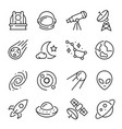 Space and astronomy linear icons set