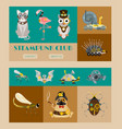 steampunk animal set banners vector image vector image